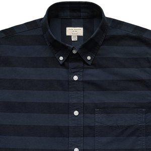 CLUB MONACO Blue Stripe Slim Fit Twill Shirt Large